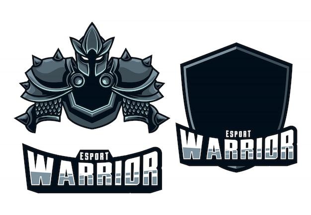Set maskottchen logo esport krieger