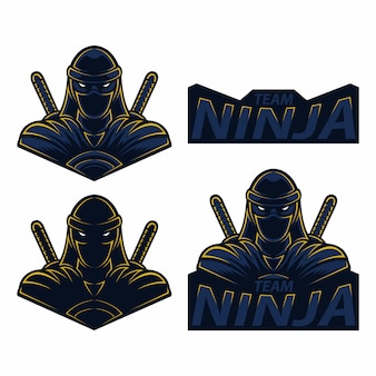 Set maskottchen logo esport ninja