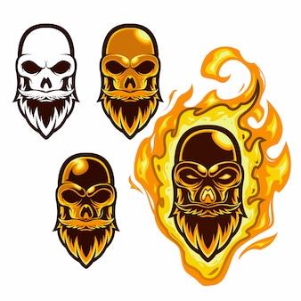 Set maskottchen logo feuer schädel kopf