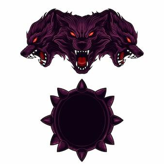 Set maskottchen logo kerberus