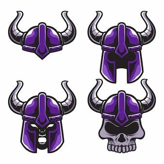 Set maskottchen logo wikinger helm schädel