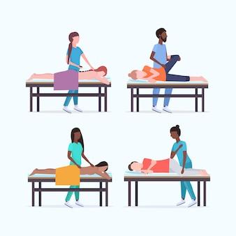 Set masseure therapeuten tun heilbehandlung von mix-race-patienten auf massagetisch spezialisten massieren verletzte körperteile sammlung handbuch sport physiotherapie konzept in voller länge