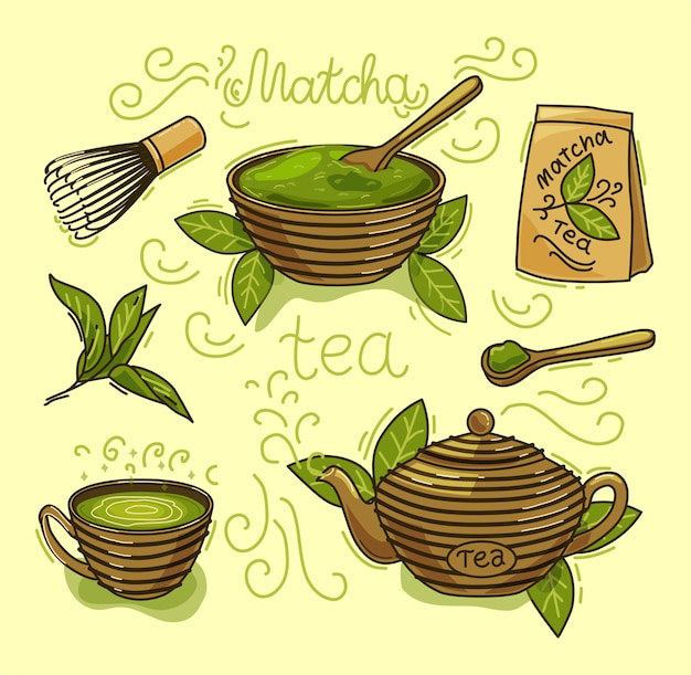 Set matcha-tee-produkte. matcha-pulver, mochi, teekanne, löffel, teeblätter. farbabbildung. objekte sind isoliert.
