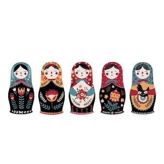 Set matroschka russische nesting doll traditionelle russische kultur volksspielzeug babuschka puppe