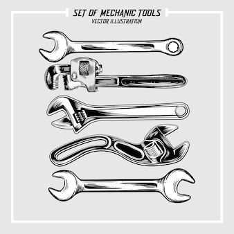 Set mechanischer werkzeuge illustrationen