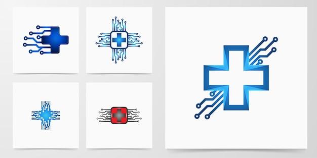 Set medical cross technology logo