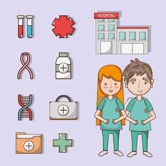 Set medizinische geräte behandlung diagnose
