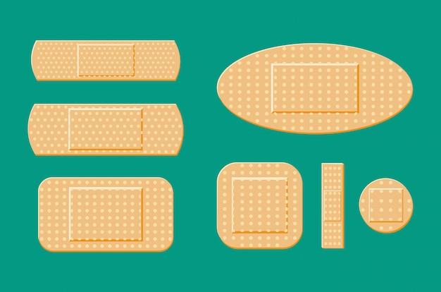 Set medizinischer pflaster in verschiedenen größen