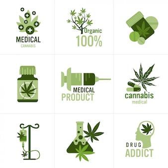 Set medizinisches cannabis oder marihuana naturprodukt ganja legalisierung hanf blatt drogenkonsum konzept