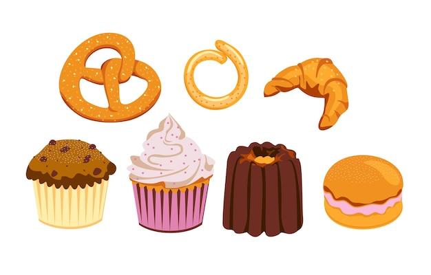 Set mehlprodukte aus bäckerei oder konditorei