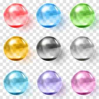 Set mehrfarbige transparente glaskugeln