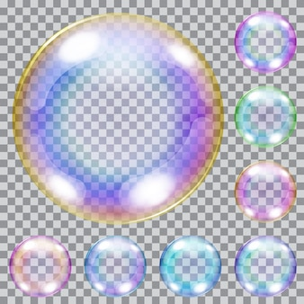 Set mehrfarbige transparente seifenblasen mit blendung