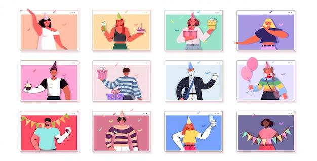 Set menschen festliche hüte feiern online-geburtstagsfeier