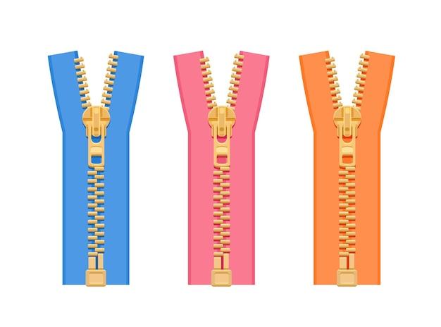 Set metallreißverschlüsse für kleidung in verschiedenen farben