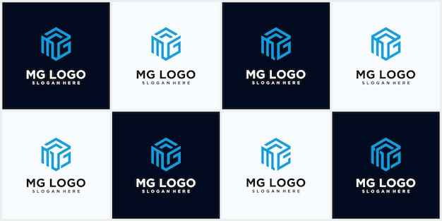 Set mg logo sechskantform set