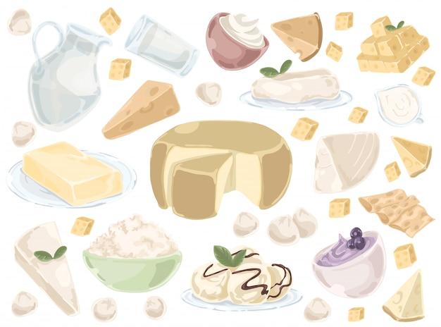 Set milchprodukte mit milch