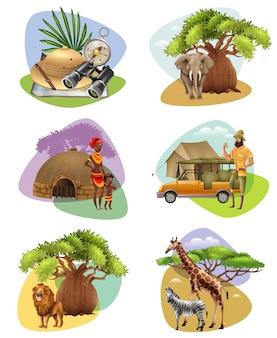 Set mini kompositionen auf safari theme Kostenlosen Vektoren
