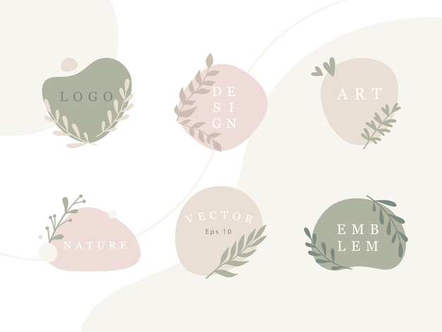 Set minimaler embleme mit organischen abstrakten formen und blättern in pastellfarben. modekollektion. vektor-design-vorlage für logo, tag, emblem usw.