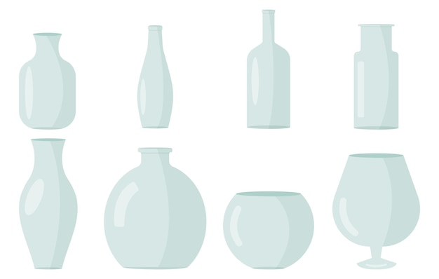 Set minimaler glasvasen im flachen stil