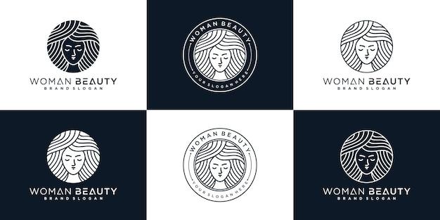 Set minimalistische frau beuty logo design kollektion für schönheitssalon premium-vektor