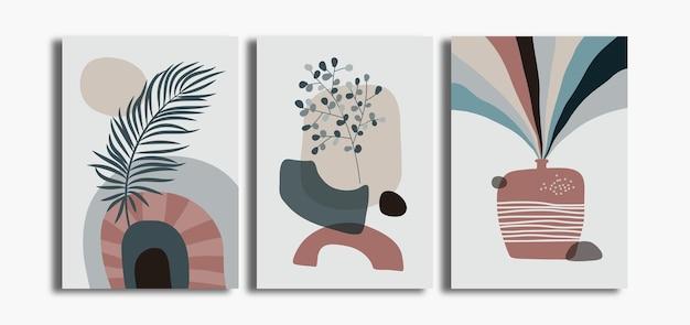 Set minimalistischer böhmischer wandkunstposter