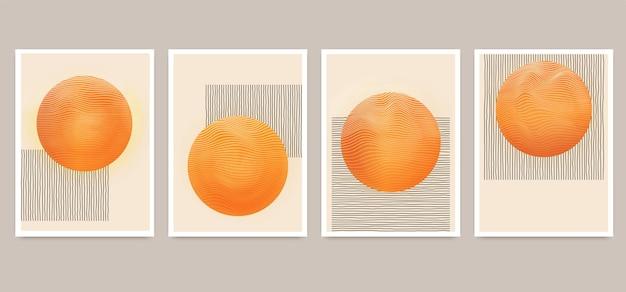 Set minimalistischer geometrischer kunstplakate mit elementen geometrischer formen, kugeln mit gewellten dynamischen linien. moderne zeitgenössische kreative trendige abstrakte vorlagen-vektorillustration.