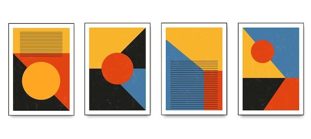 Set minimalistischer geometrischer kunstplakate mit geometrischen formelementen. moderne zeitgenössische kreative trendige abstrakte vorlagen-vektorillustration.