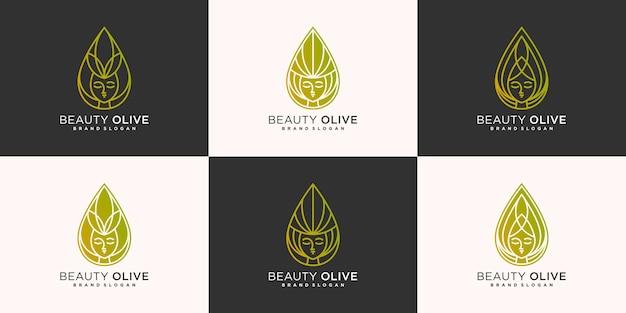 Set minimalistischer olivgrüner beauty-logo-designs mit einzigartigem linienkunstkonzept premium-vektor