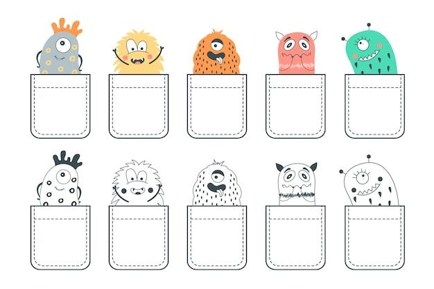 Set mit 10 taschen mit niedlichen monstern.