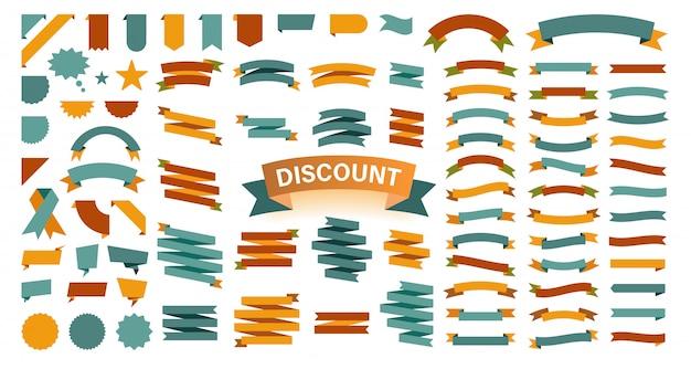 Set mit 100 bändern. farbbandelemente. starburst-label. jahrgang. moderne einfache bändchensammlung. illustration.