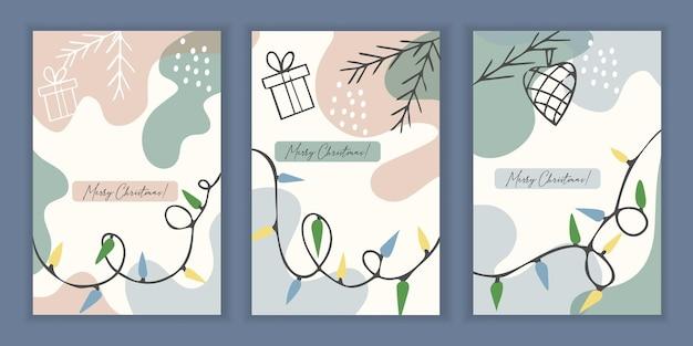 Set mit 3 urlaubsvorlagen für eine grußkarte oder einladung zu weihnachten und neujahr.