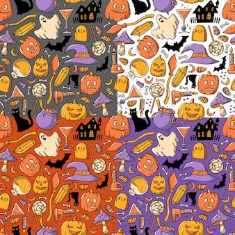 Set mit 4 halloween-nahtmustern