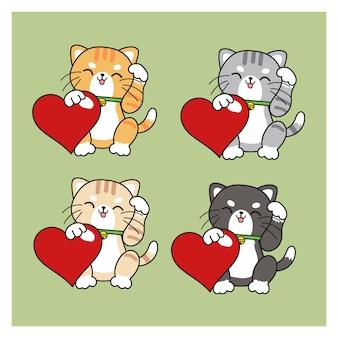 Set mit 4 kawaii katzen. katzen, die rotes herz für valentinstag umarmen.