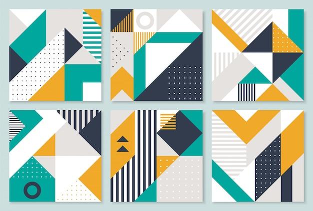 Set mit 6 plakaten mit geometrischen bauhausformen.