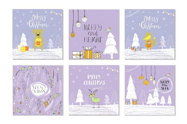 Set mit 6 süßen weihnachtsgeschenkkarten mit schriftzug frohe weihnachten, fröhliche und helle, herzliche wünsche, magische momente. einfach bearbeitbare vorlage. nette illustration für postkarte, poster, t-shirt, banner.