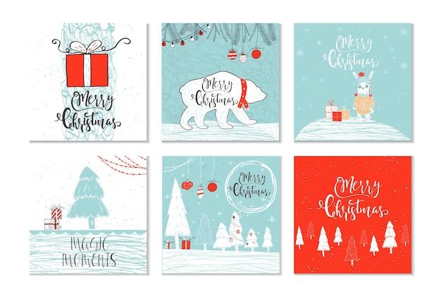 Set mit 6 süßen weihnachtsgeschenkkarten mit zitat frohe weihnachten, fröhliche und helle, herzliche wünsche, magische momente. einfach bearbeitbare vorlage. nette illustration für karte, plakat, t-shirt, fahne.