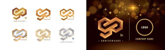 Set mit 90. jubiläumslogo 90 jahre jubiläumsfeier 90 jahre hexagon infinity logo