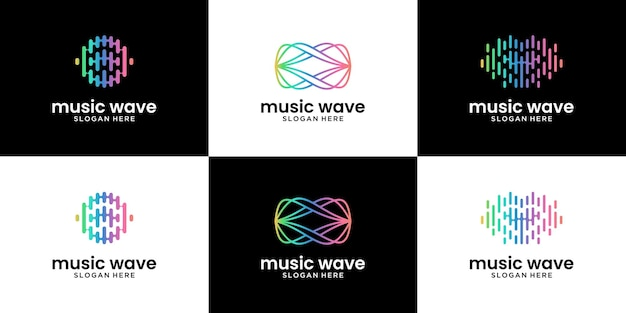 Set mit abstraktem audiowellen-logo-design