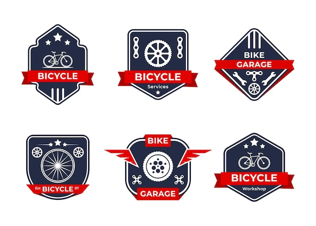 Set mit abstraktem zahnrad- und fahrradlogo-design für fahrradclub-logos