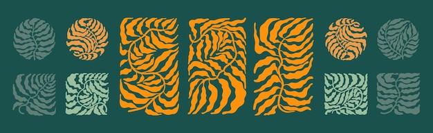 Set mit abstrakten minimalistischen boho-trendblättern im mid-century-stil. Premium Vektoren