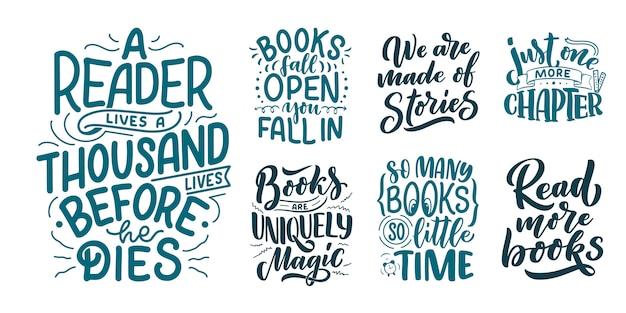 Set mit abstrakter beschriftung über bücher und lesen für design.