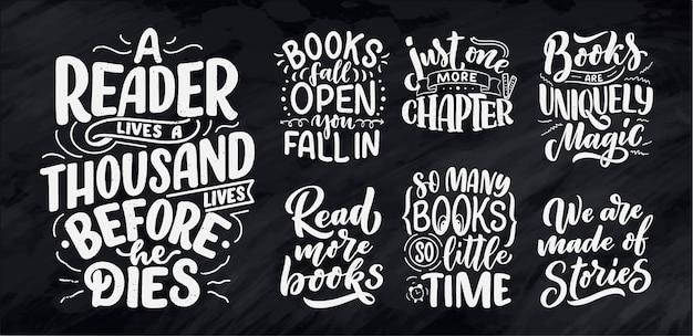 Set mit abstrakter beschriftung über bücher und lesen für plakatgestaltung