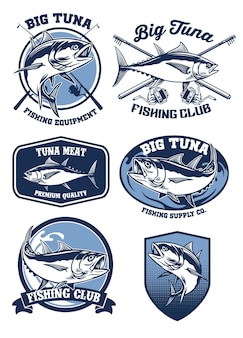 Set mit abzeichen für thunfischfang