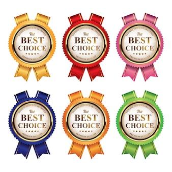 Set mit bunten abzeichen der besten wahl in premium-qualität mit band
