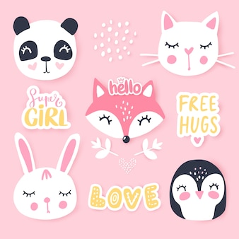 Set mit cartoon tiere panda, pinguin, katze, fuchs, hase.