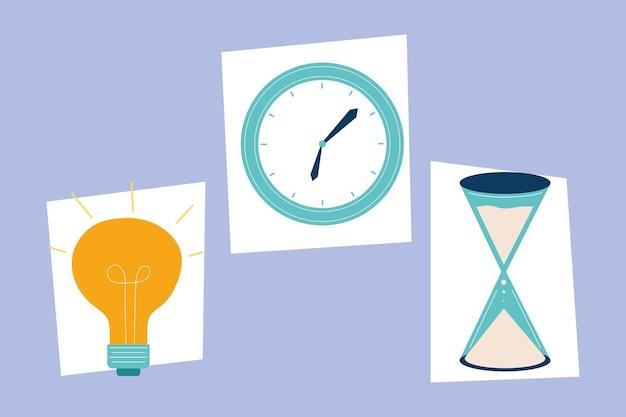 Set mit drei produktiven arbeitselementen