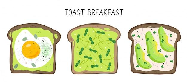 Set mit drei toasts mit microgreens