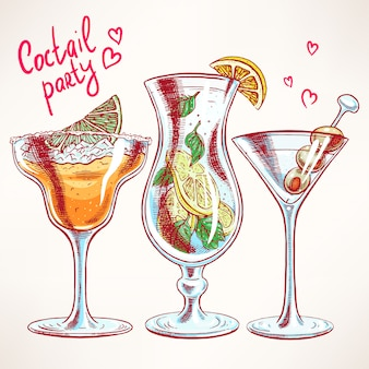 Set mit drei verschiedenen cocktails. handgezeichnete illustration