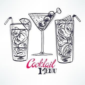 Set mit drei verschiedenen sketch-cocktails. handgezeichnete illustration