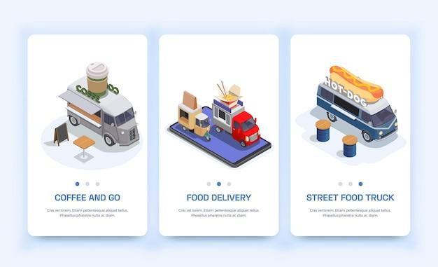 Set mit drei vertikalen, isolierten isometrischen bannern für food trucks